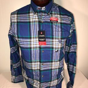 Chaps Blue Performance Flannel Mens Medium Button